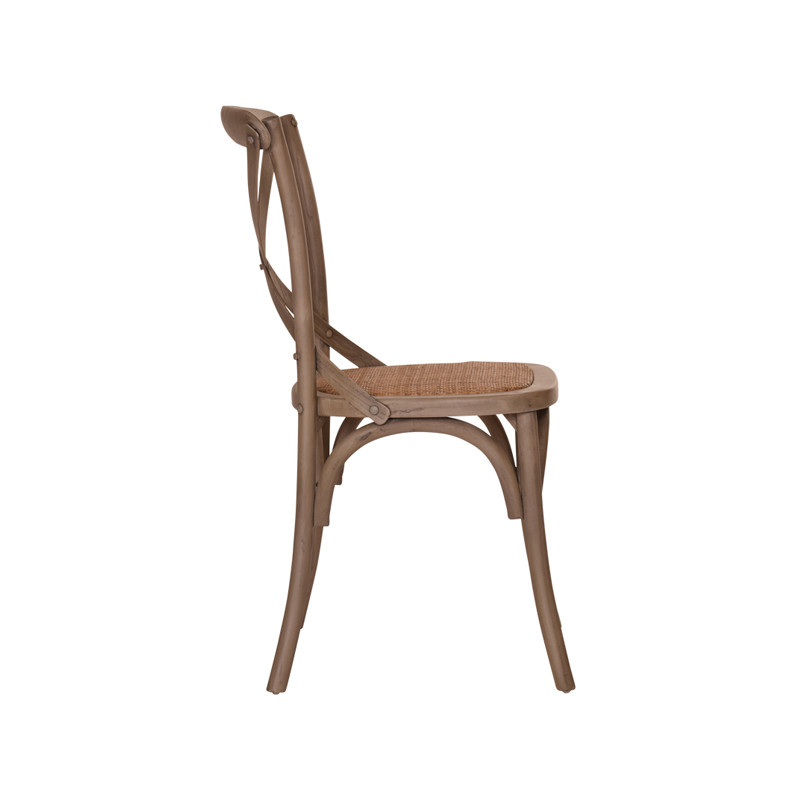 Crossback Chair in Washed Grey  - timeless cross back chair design perfect for Hamptons, French Provincial, or Industrial themes. Suitable for residential or commercial settings. Side view.