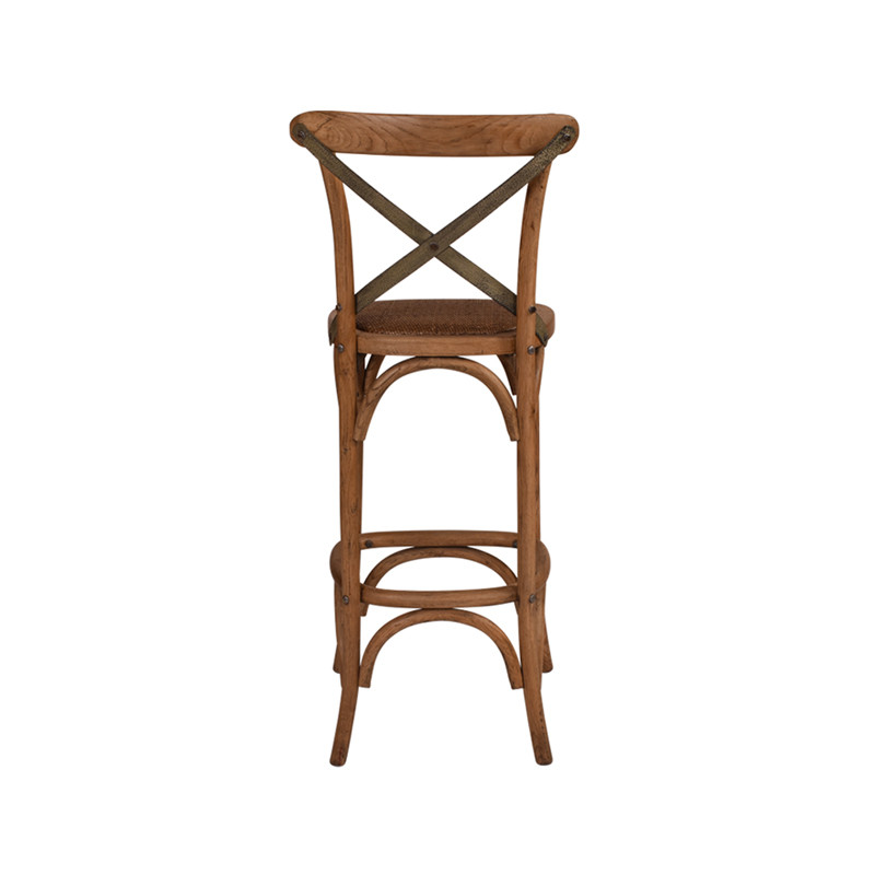 Crossback Stool Oak with Dark Aged Metal Strap - timeless bar or counter stool cross back design perfect for Hamptons, French Provincial, or Industrial themes. Suitable for residential or commercial. Rear view.