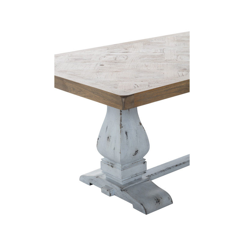 Whistler Dining Table with Parquetry Top and Turned Leg Refectory Base. Large French Provincial Dining Table, also suitable for coastal and Hamptons dining settings. Detail view (close up).