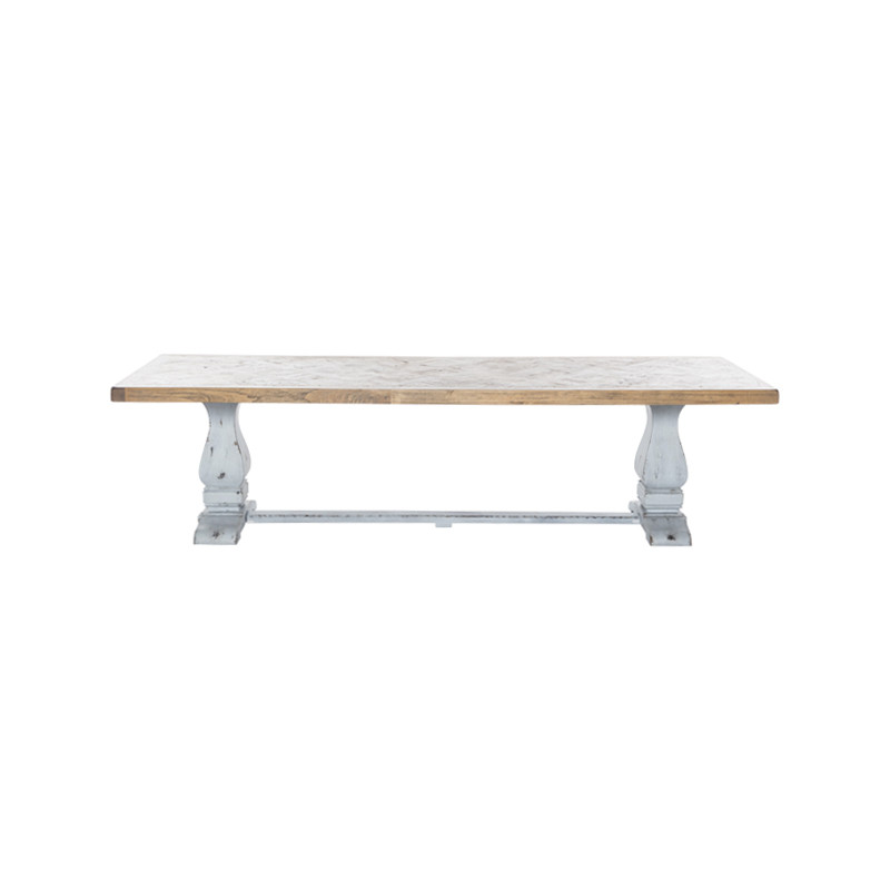 Whistler Dining Table with Parquetry Top and Turned Leg Refectory Base. Large French Provincial Dining Table, also suitable for coastal and Hamptons dining settings. Side view.