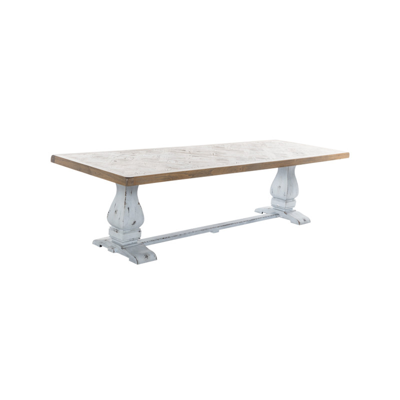 Whistler Dining Table with Parquetry Top and Turned Leg Refectory Base. Large French Provincial Dining Table, also suitable for coastal and Hamptons dining settings. Three quarter view.