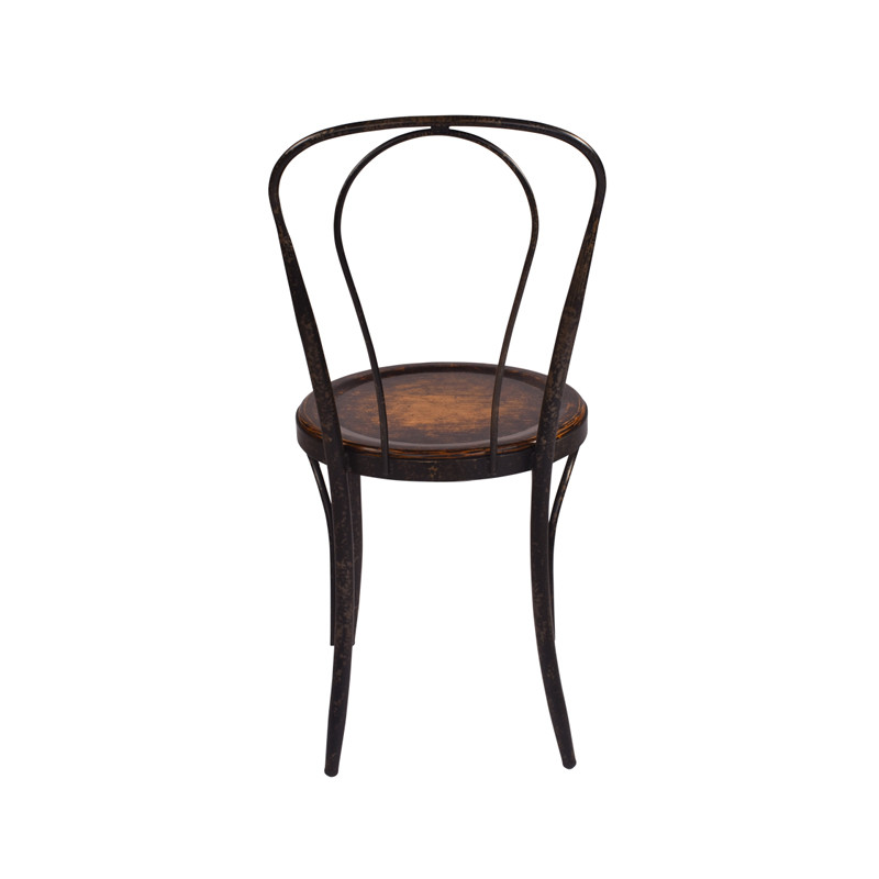Classic bentwood Parisian Dining Chair with aged iron frame and oak seat, perfect for French Provincial or rustic design themes - rear view