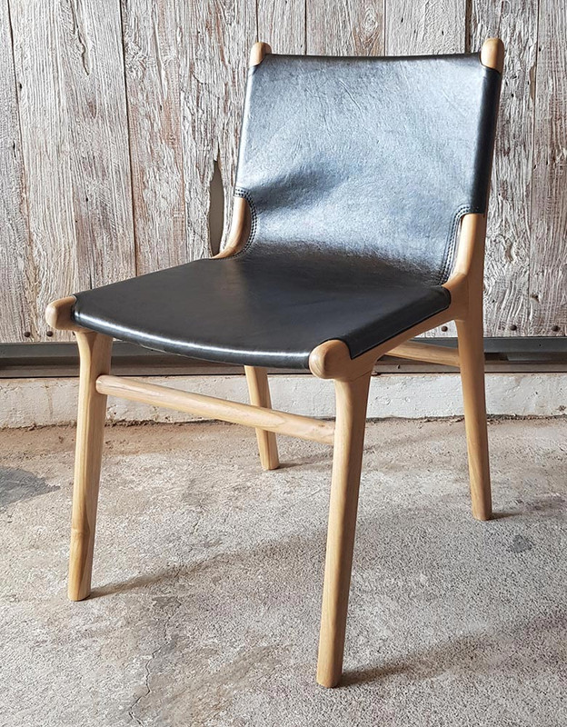 Teak and Black Leather Dining Chair (full)