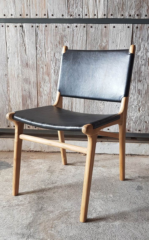 Teak and Black Leather Dining Chair (gap)