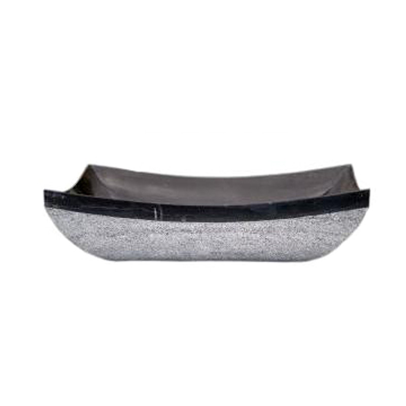 Elegant black marble bathroom hand basin with mirror-polished interior surface, viewed from the front.