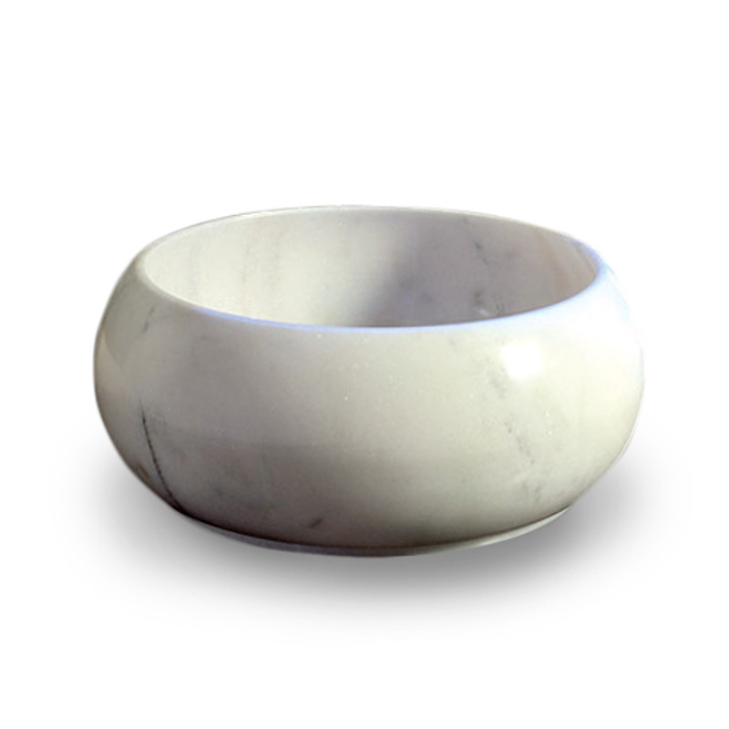 The beautifully shaped Sunflower hand basin is crafted from solid white marble.