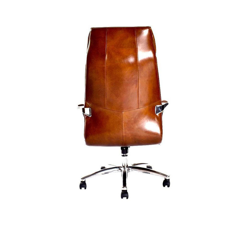 The Executive Desk Chair is upholstered in our signature aged leather, it has an ergonomic seating position with additional head support. 3/4. Back