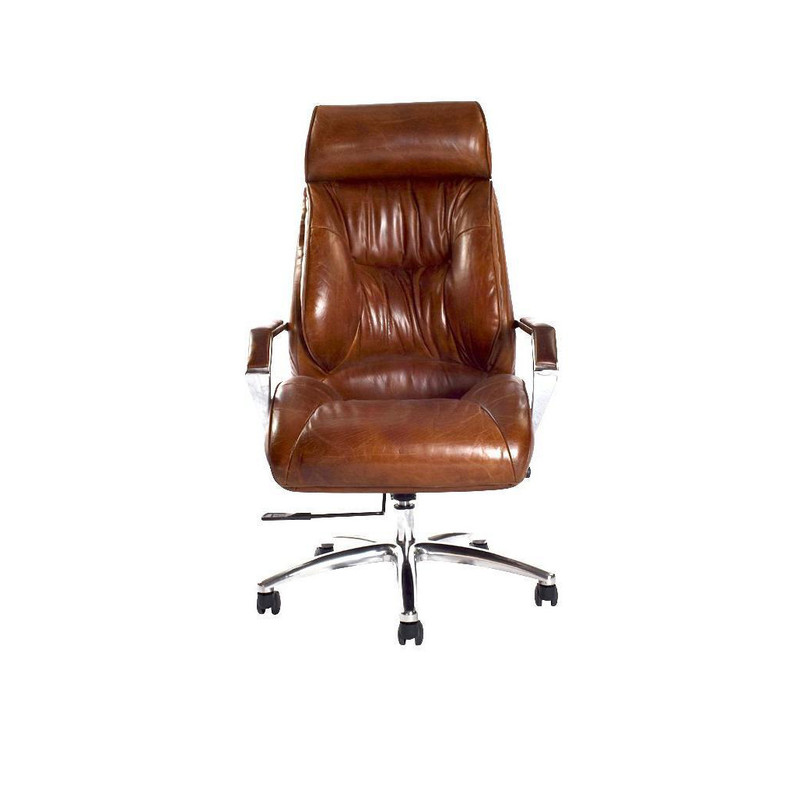 The Executive Desk Chair is upholstered in our signature aged leather, it has an ergonomic seating position with additional head support.  Front