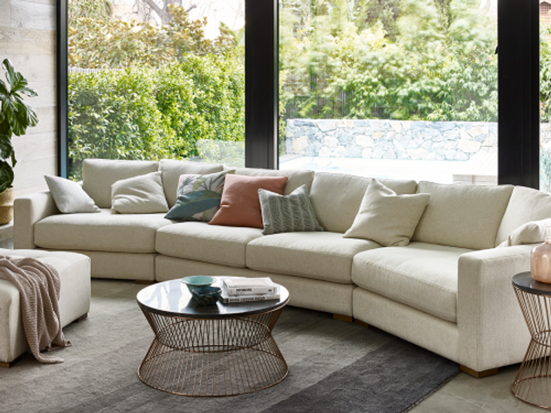 The Dempsey Modular 4 seater sofa is a contemporary design, available in many combinations and sizes. The sofa as shown, features an angled chaise for conversational seating. Lifestyle