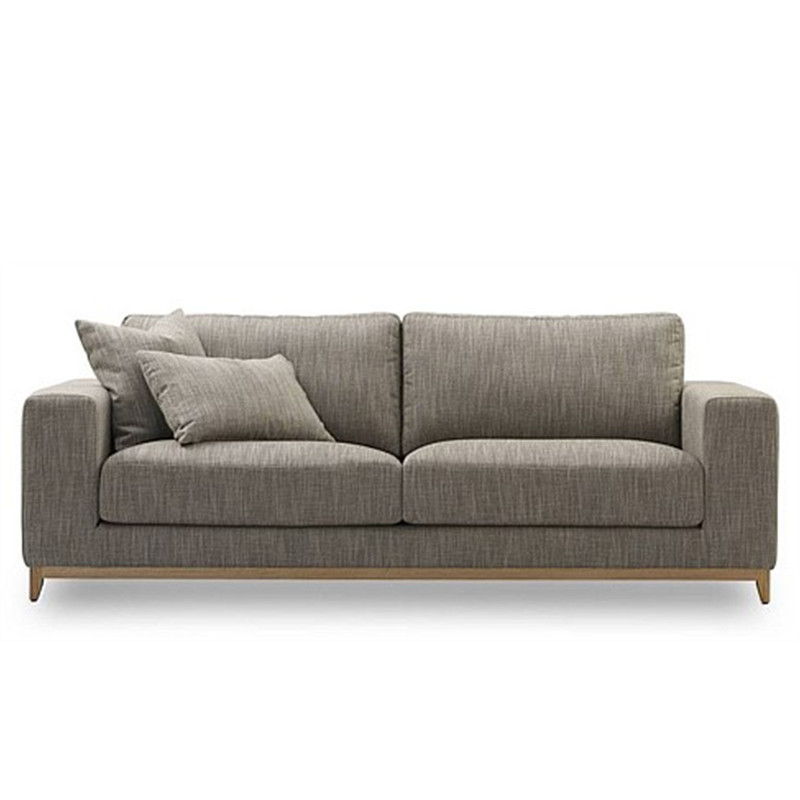 The Aston 3 seater leather sofa features a relaxed contemporary design, with feather top seat cushions and wide arm rests for extra comfort. Fabric. Front