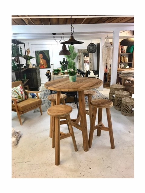 Teak Bar Table & Stools