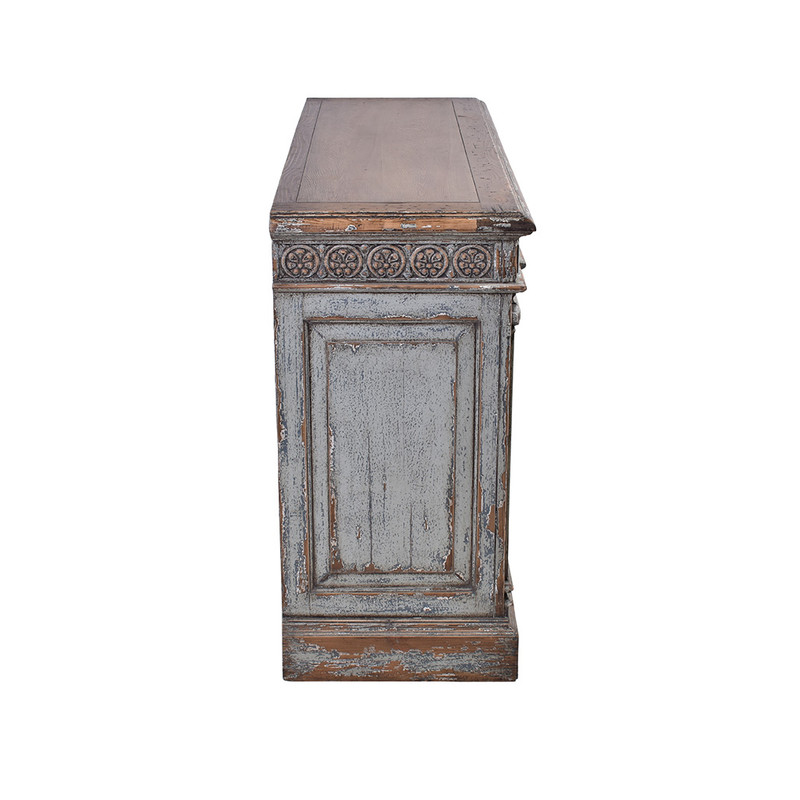 This exquisite sideboard has been reclaimed using materials from 150 year old Chinese buildings. Beautifully distressed in a grey wash finish featuring ornate carvings. This unique piece will be a highlight any room!Side