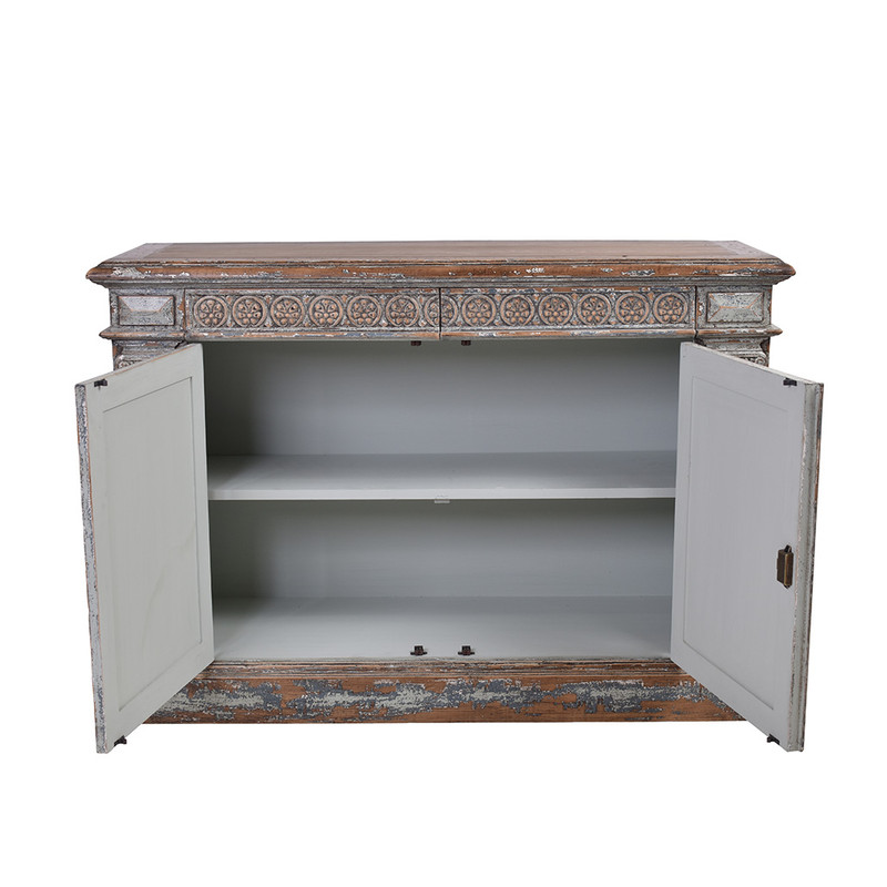 This exquisite sideboard has been reclaimed using materials from 150 year old Chinese buildings. Beautifully distressed in a grey wash finish featuring ornate carvings. This unique piece will be a highlight any room! Doors open