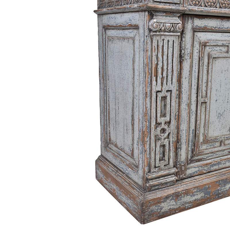 This exquisite sideboard has been reclaimed using materials from 150 year old Chinese buildings. Beautifully distressed in a grey wash finish featuring ornate carvings. This unique piece will be a highlight any room! Close-up