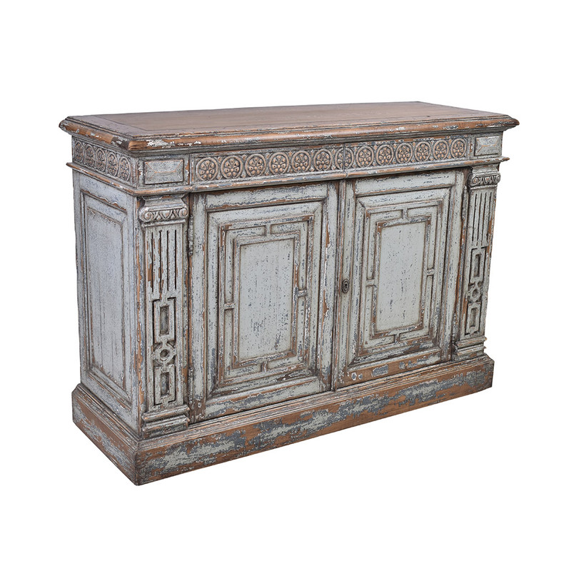 This exquisite sideboard has been reclaimed using materials from 150 year old Chinese buildings. Beautifully distressed in a grey wash finish featuring ornate carvings. This unique piece will be a highlight any room! 3/4
