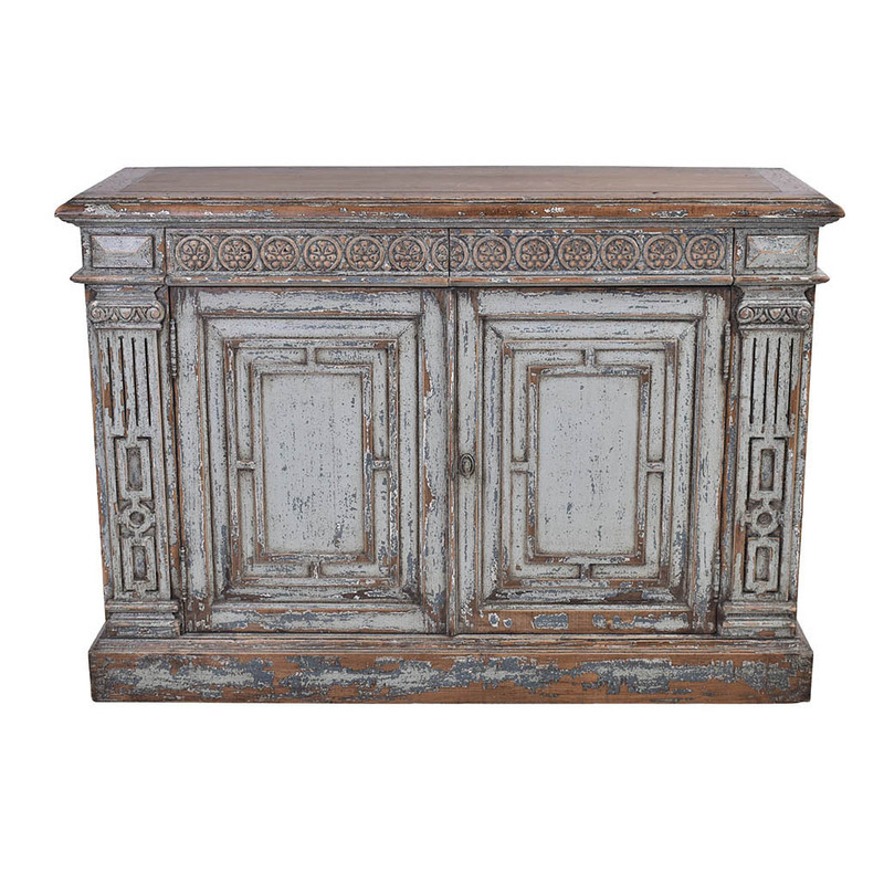 This exquisite sideboard has been reclaimed using materials from 150 year old Chinese buildings. Beautifully distressed in a grey wash finish featuring ornate carvings. This unique piece will be a highlight any room! Front