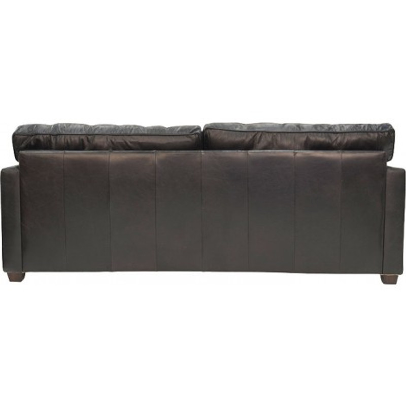 West End 3 Seater Worn Black Leather Sofa