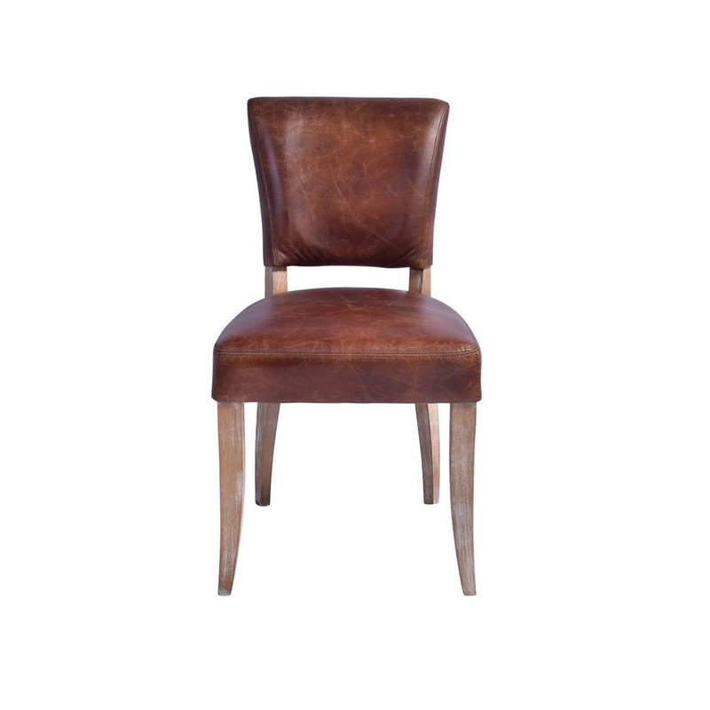 Our Detroit Vintage Chair is upholstered in a waxed aged leather with gold stud detailing around the back of the chair. It embraces a classic style with old age charm & comfort. Will look seamless around any dining table or as a sophisticated office chair. Front view