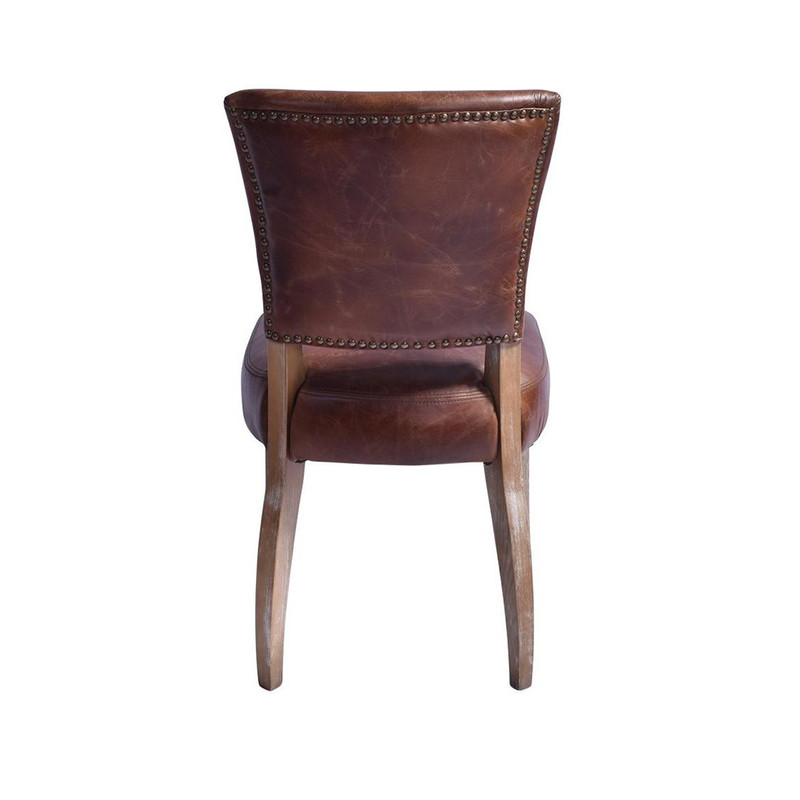 Our Detroit Vintage Chair is upholstered in a waxed aged leather with gold stud detailing around the back of the chair. It embraces a classic style with old age charm & comfort. Will look seamless around any dining table or as a sophisticated office chair. Rear view