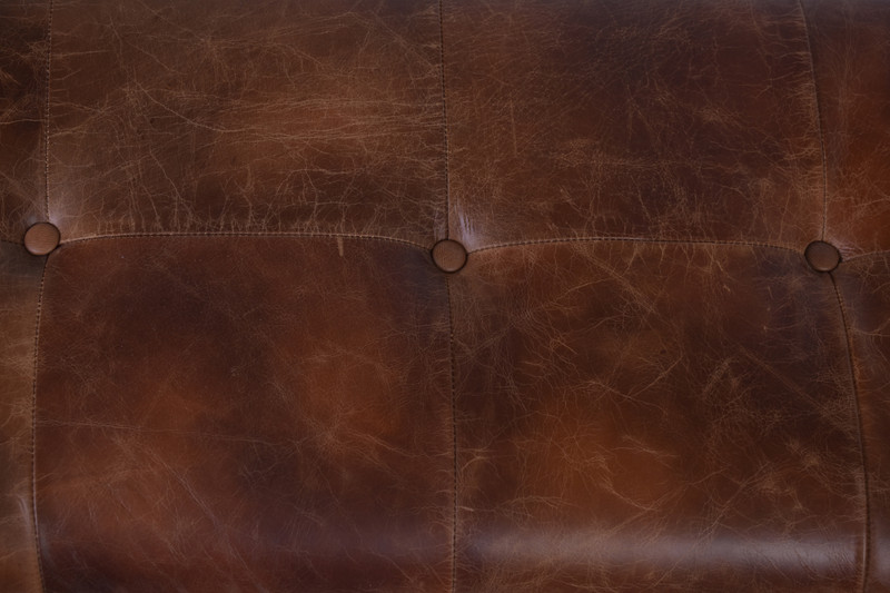Aged Leather Bench Seat