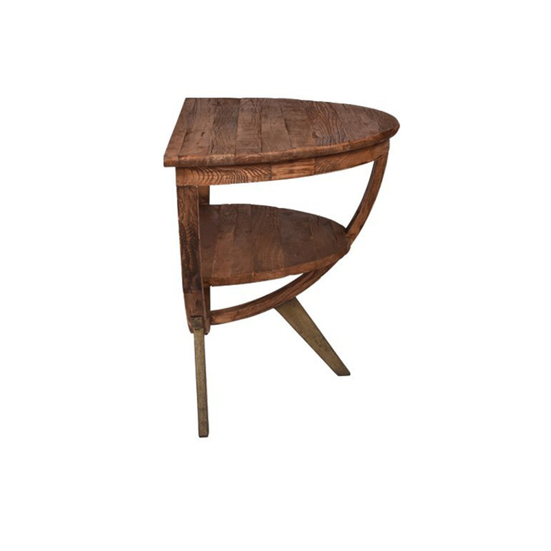 A truly unique piece! Our Semi Circle Sideboard Table is made from reclaimed elm & is so versatile. Use it as a side table, wall table or sideboard. Perfect for small spaces to use as a dining table as well. Side view