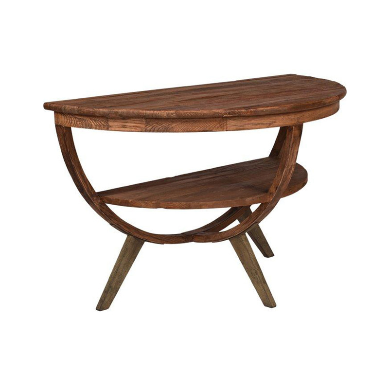 A truly unique piece! Our Semi Circle Sideboard Table is made from reclaimed elm & is so versatile. Use it as a side table, wall table or sideboard. Perfect for small spaces to use as a dining table as well. 3/4 view