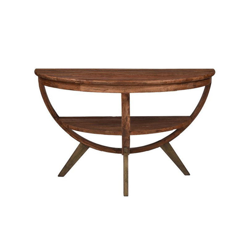 A truly unique piece! Our Semi Circle Sideboard Table is made from reclaimed elm & is so versatile. Use it as a side table, wall table or sideboard. Perfect for small spaces to use as a dining table as well. Front view