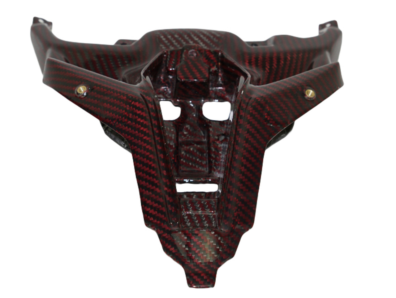 Tail Fairing Stay in Black and Red Glossy Twill Weave Carbon Fiber for Ducati Panigale V4