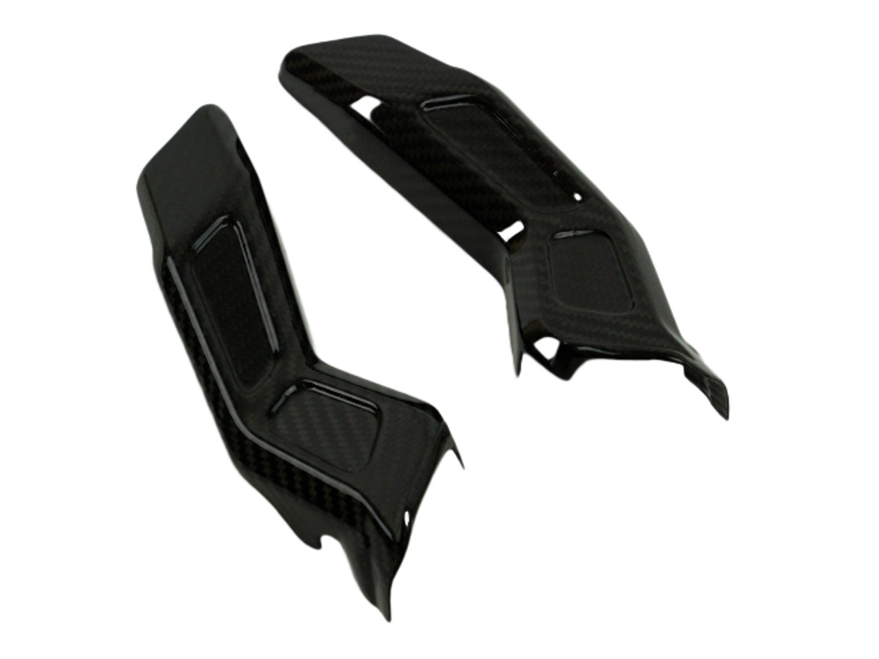 Headlight Stay Sides in Glossy Twill Weave Carbon Fiber for Yamaha FZ-10-MT-10