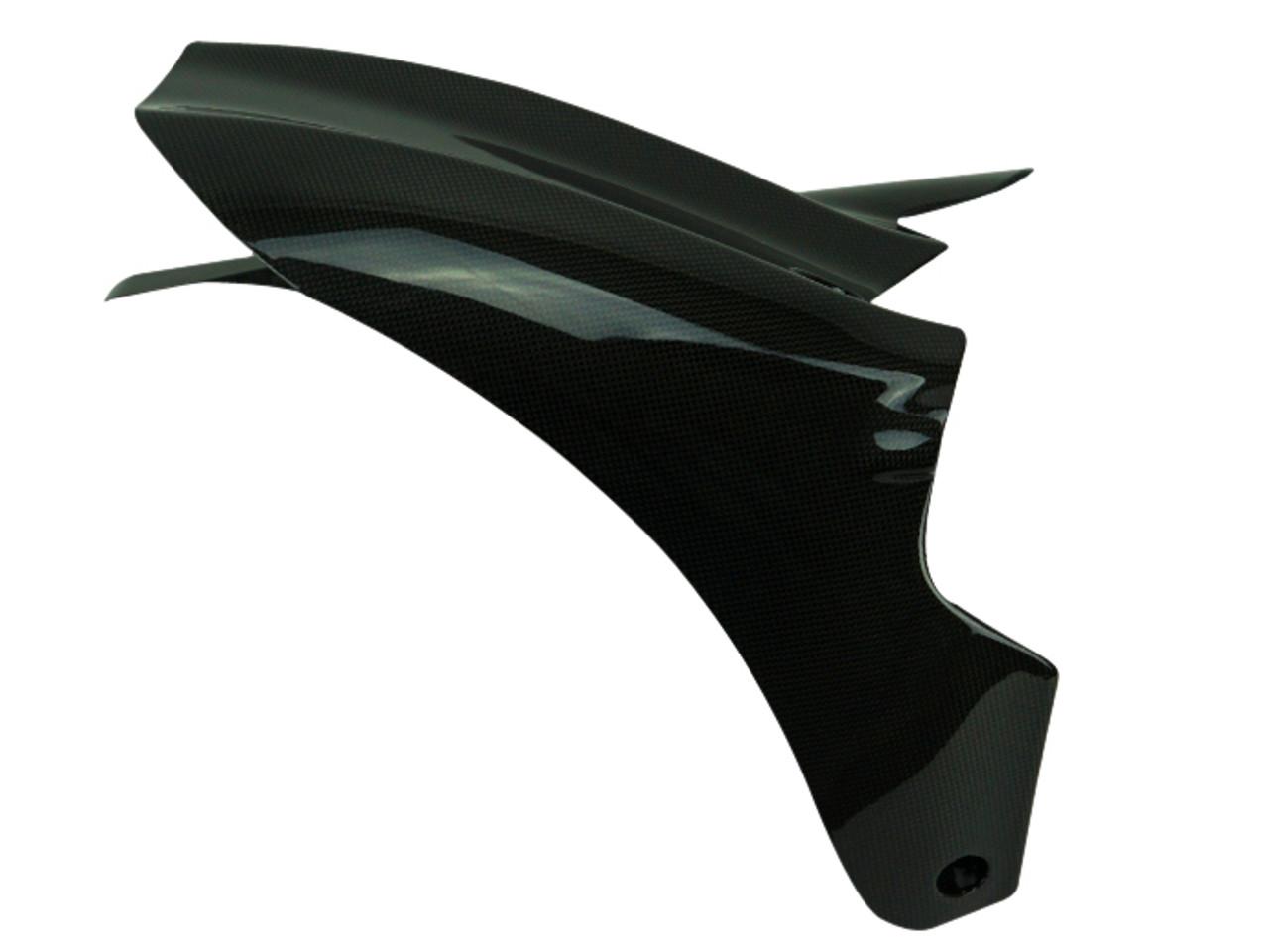 Rear Hugger w/ Chainguard ( Short Version ) in Glossy Plain Weave Carbon Fiber for Ducati Diavel