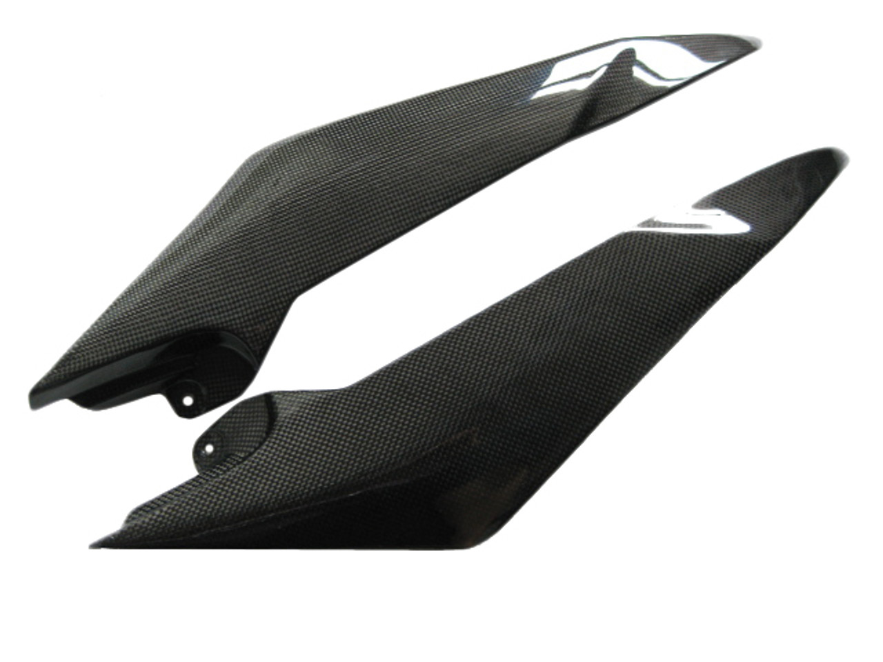 Glossy Plain Weave Carbon Fiber Side Cowl Covers for Yamaha R6 08-16