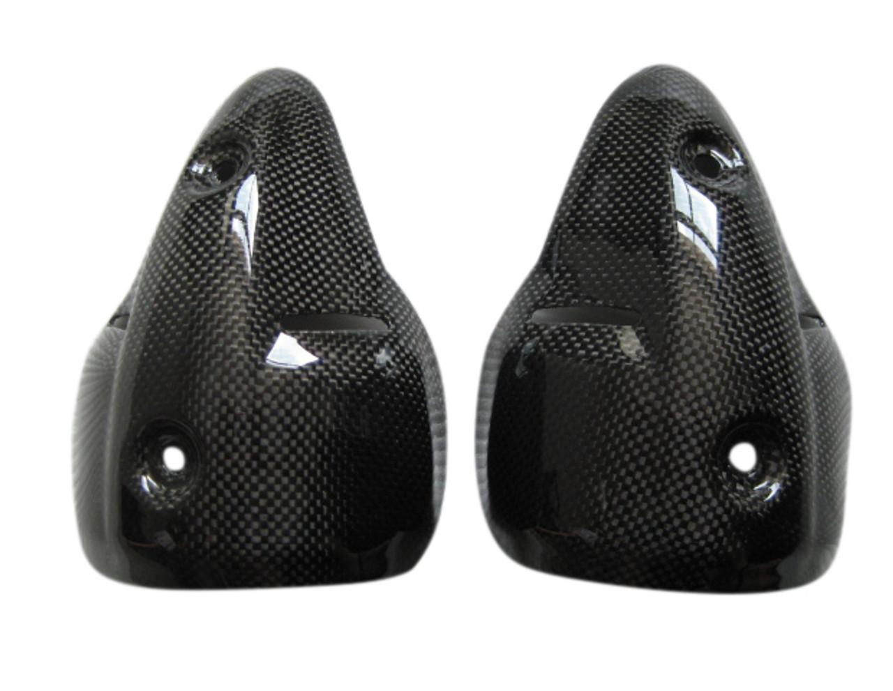Glossy Plain Weave Carbon Fiber Silencer Guards/ Heat Shields for Ducati Monster 696 / 796 / 1100  07-10