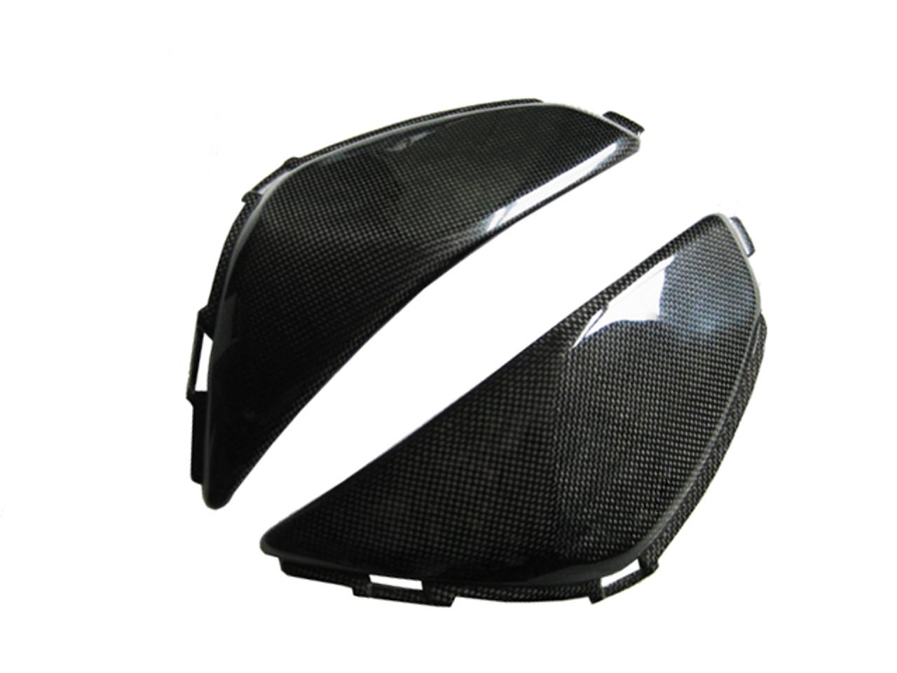 Side Tank Covers for Honda CBR 600RR 07-12 in Glossy Plain Weave Carbon Fiber