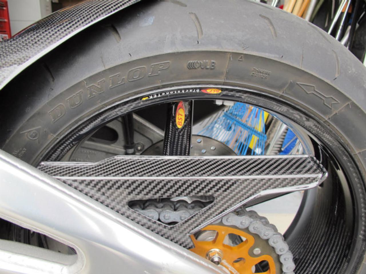 Glossy Twill Weave Upper Chain Guard for Aprilia RSV4 2009+, Tuono 2011+ installed
