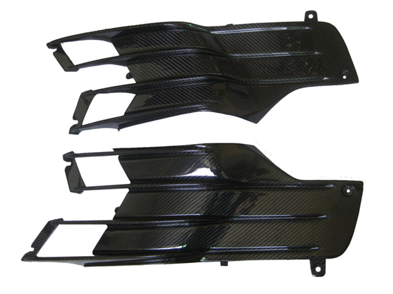 Under Tank Fittings for Kawasaki ZX14R-ZZR1400 2012+ in Glossy Plain Weave Carbon Fiber