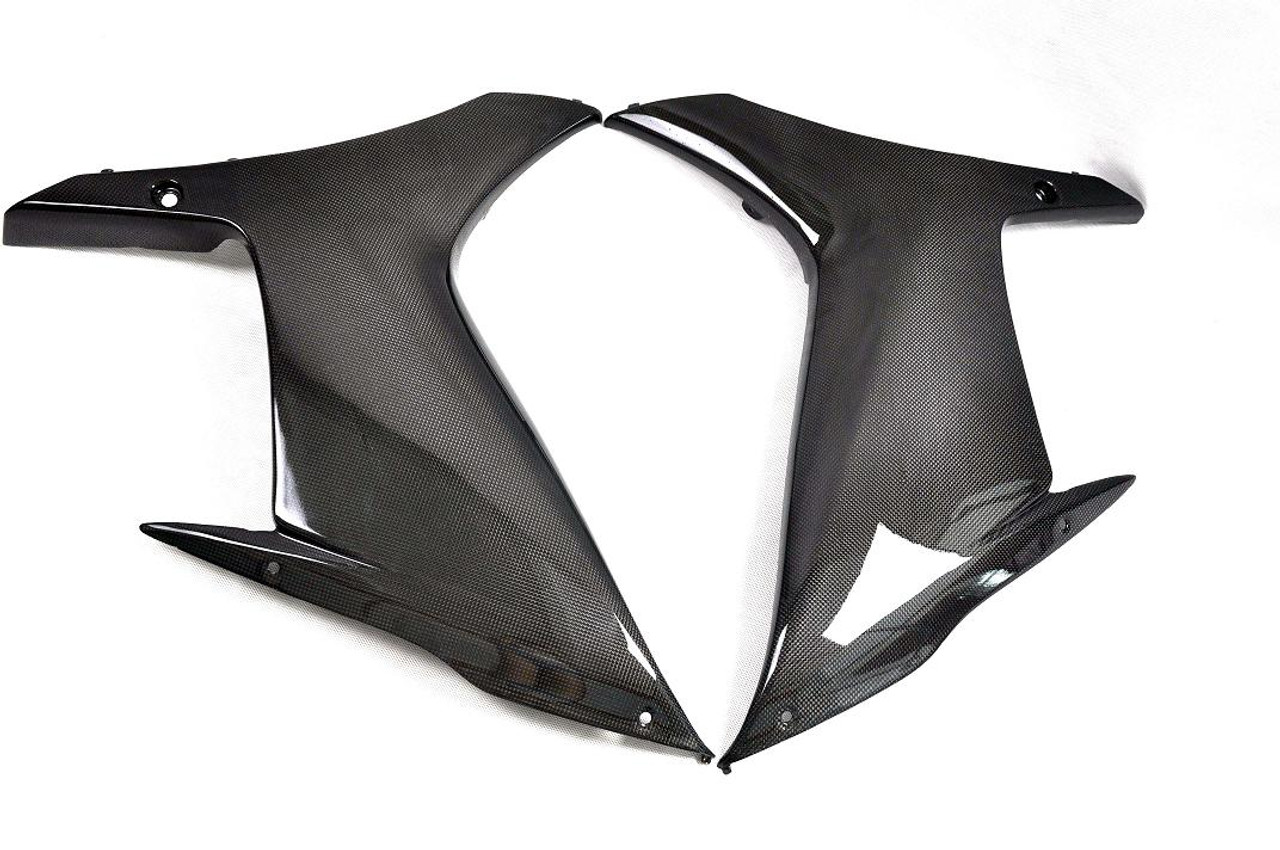 Glossy Plain Weave Carbon Fiber  Side Panels for Suzuki GSXR 600, GSXR 750  2011-2019