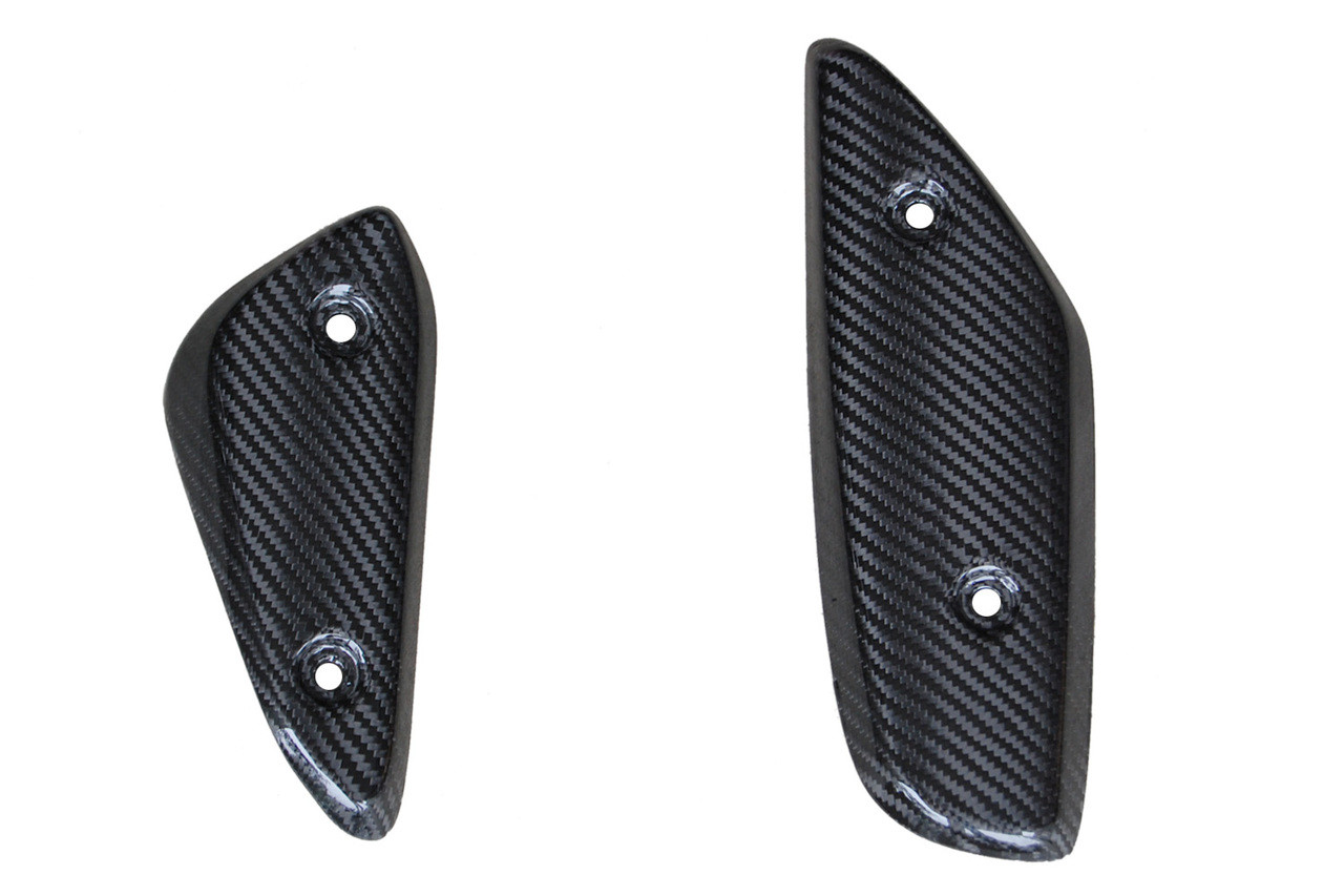 Heel Plates in Glossy Twill Weave Carbon Fiber for Aprilia Mana 850 2008-2014