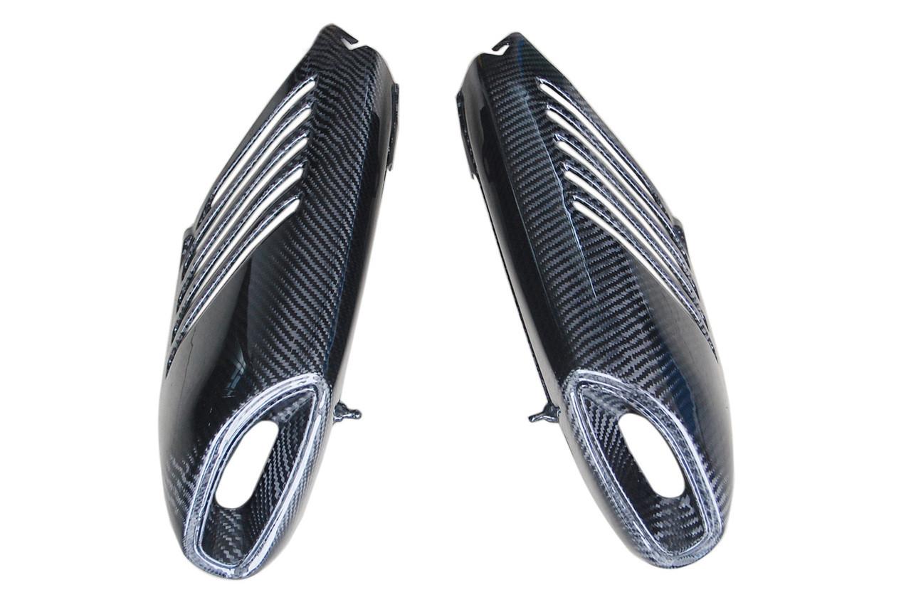 Exhaust Covers in Glossy Twill Weave Carbon Fiber for Aprilia Dorsoduro 750