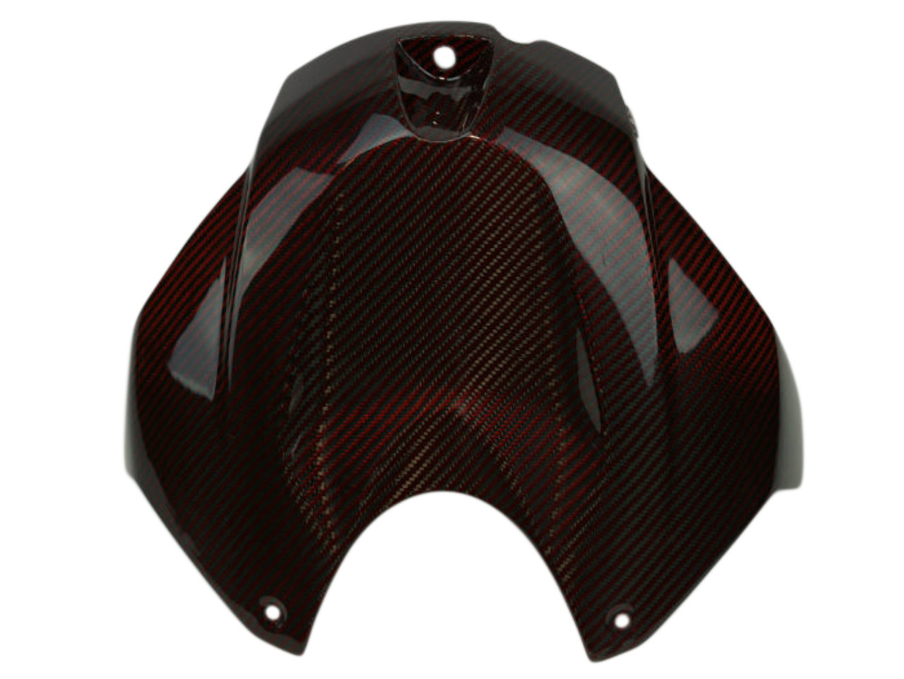 Tank Cover in Black and Red Glossy Twill Weave Carbon Fiber for BMW S1000R