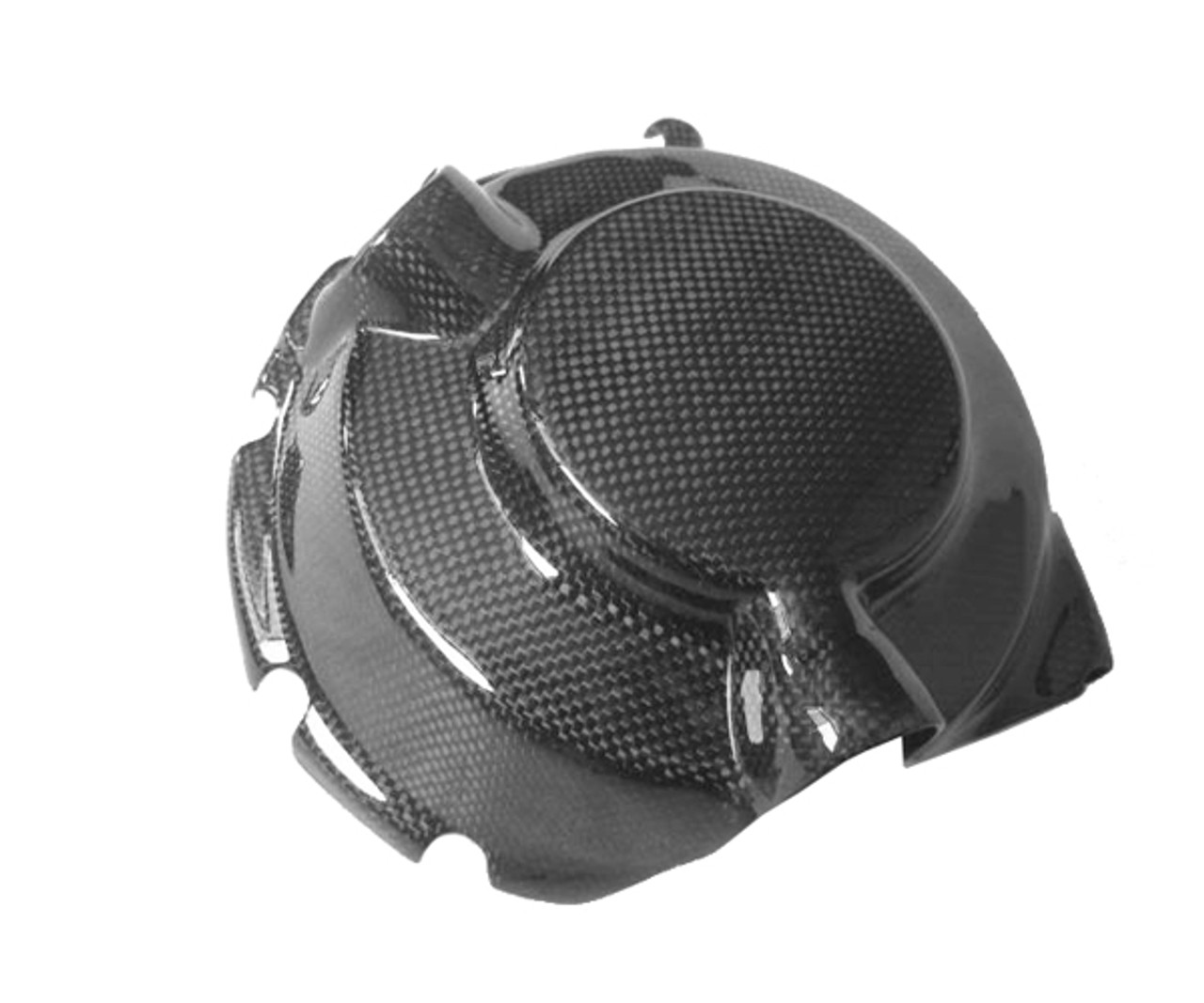 Clutch Cover Guard in Glossy Plain Weave Carbon Fiber for Yamaha R6 99-02