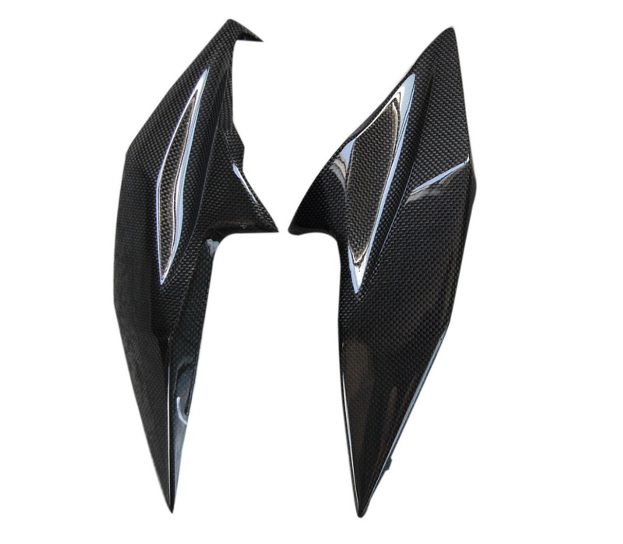 Front Fairing Middle Panels in Glossy Plain Weave Carbon Fiber for Kawasaki Z800