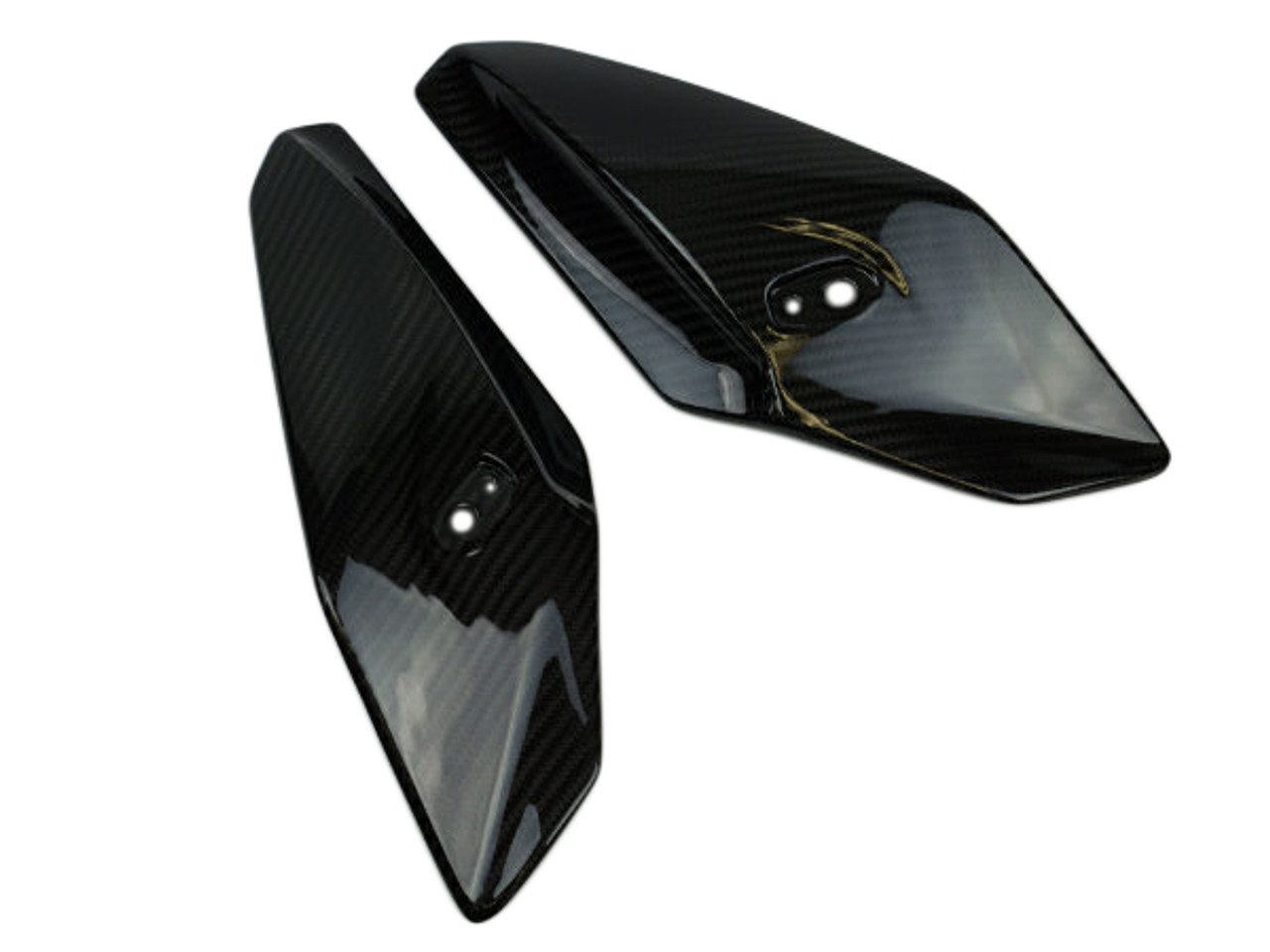Upper Fairing Sides in Glossy Twill Weave Carbon Fiber for BMW S1000R 2014+
