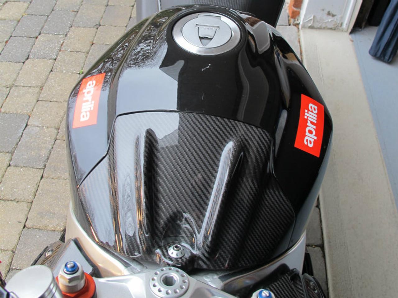 Glossy Twill Weave  Carbon Fiber Tank Front Cover for Aprilia RSV4 09-12, Tuono V4 11-13 installed