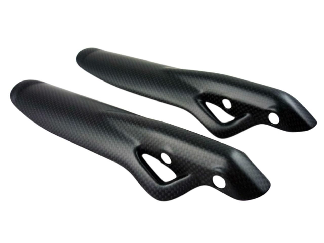 Fork Protectors Style 1 in Glossy Plain Weave Carbon Fiber for Ducati Scrambler