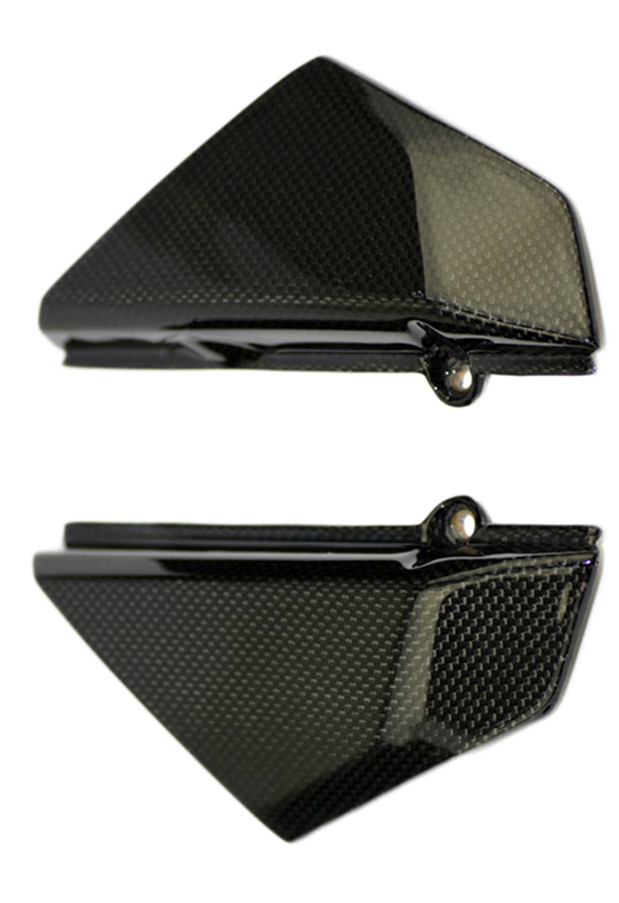Under Tank Side Covers in Glossy Plain Weave Carbon Fiber for Ducati Scrambler