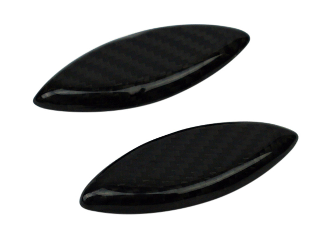 Mirror Cutout Covers in Glossy Twill Weave Carbon Fiber for Kawasaki ZX14/ZZR1400 2012+
