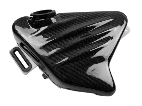 Radiator Coolant Tank Cover in Glossy Twill Weave Carbon Fiber for BMW K1200S, K1300S