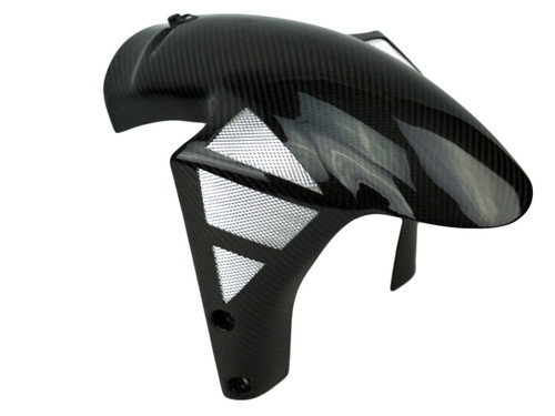 Front Fender (style 2) with Mesh in Glossy twill Weave  Carbon Fiber for Ducati 851, 888,748, 916, 996, 998, SS600, SS750, SS800, SS900, SS1000
