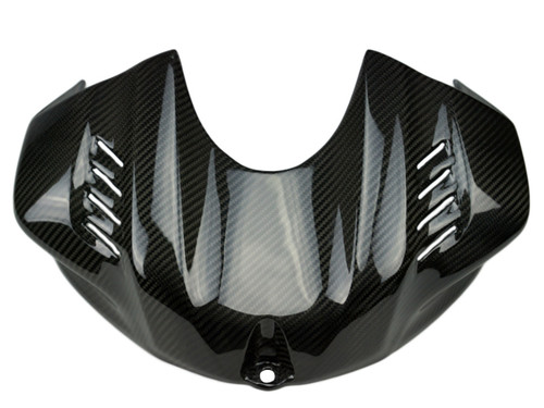 Tank Cover in Glossy Twill Weave Carbon Fiber for Yamaha R6 2017+
