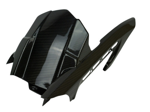 Rear Hugger with Chainguard in Glossy Twill Weave Carbon Fiber for Kawasaki Z900 2017+, RS 2018+